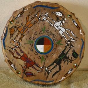 Painted hide drum by Miya